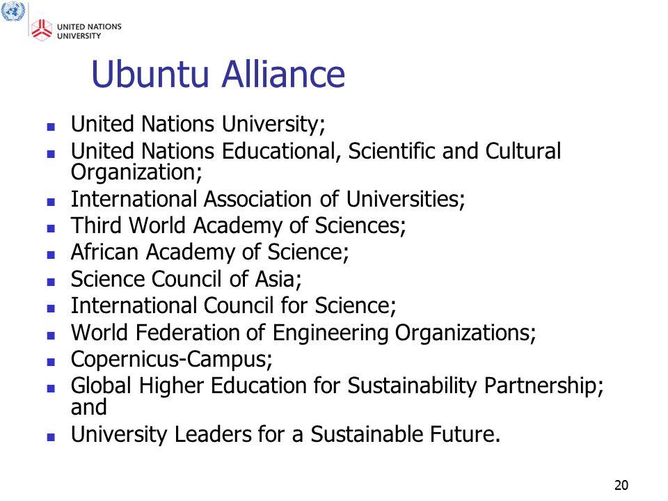 20 Ubuntu Alliance United Nations University; United Nations Educational, Scientific and Cultural Organization; International Association of Universit