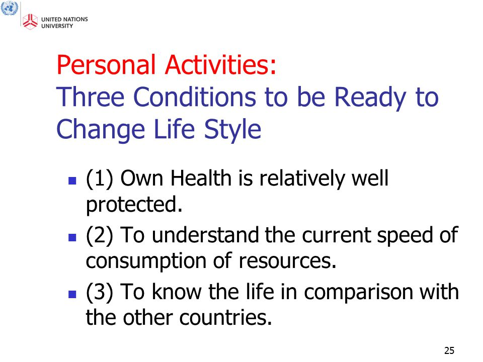 25 Personal Activities: Three Conditions to be Ready to Change Life Style (1) Own Health is relatively well protected. (2) To understand the current s