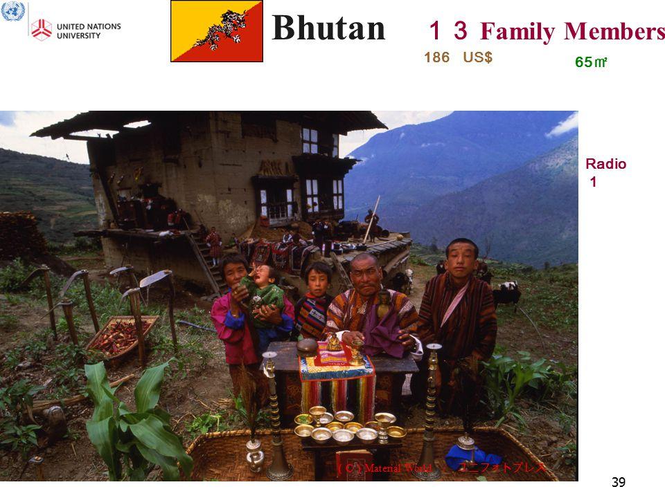 39 Bhutan 13 Family Members 65 ㎡ Radio 1 186 US$ ( C ) Material World / ユニフォトプレス
