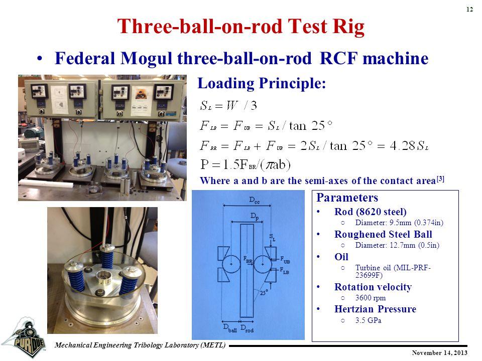 12 Mechanical Engineering Tribology Laboratory (METL) November 14, 2013 Three-ball-on-rod Test Rig Federal Mogul three-ball-on-rod RCF machine Loading