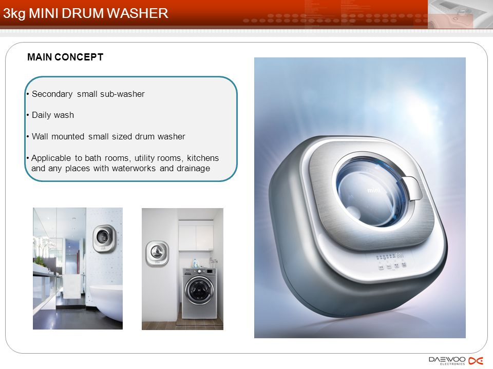 Secondary small sub-washer Daily wash Wall mounted small sized drum washer Applicable to bath rooms, utility rooms, kitchens and any places with water