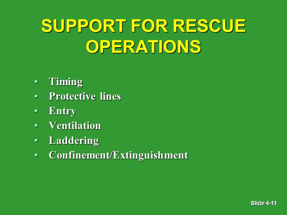 Slide 4-11 SUPPORT FOR RESCUE OPERATIONS TimingTiming Protective linesProtective lines EntryEntry VentilationVentilation LadderingLaddering Confinement/ExtinguishmentConfinement/Extinguishment