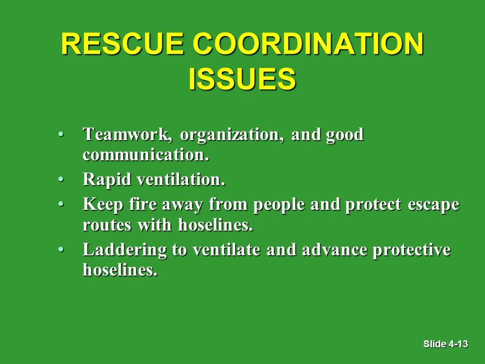 Slide 4-13 RESCUE COORDINATION ISSUES Teamwork, organization, and good communication.Teamwork, organization, and good communication.