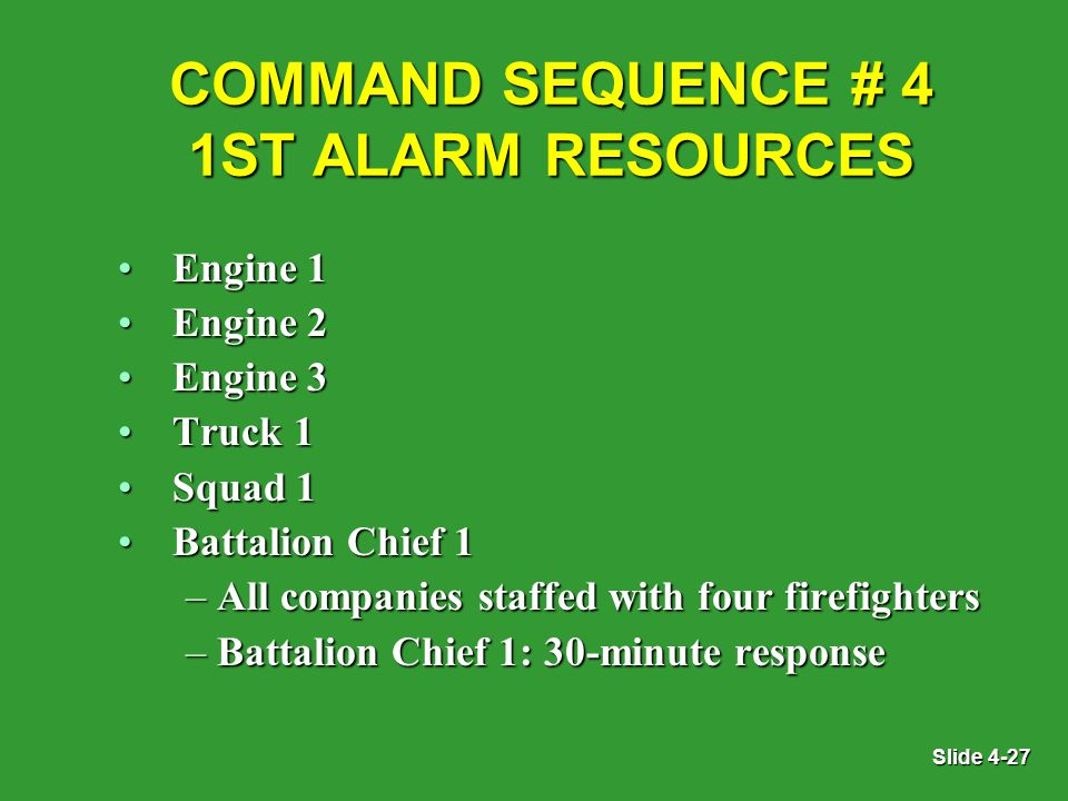 Slide 4-27 COMMAND SEQUENCE # 4 1ST ALARM RESOURCES Engine 1Engine 1 Engine 2Engine 2 Engine 3Engine 3 Truck 1Truck 1 Squad 1Squad 1 Battalion Chief 1Battalion Chief 1 – All companies staffed with four firefighters – Battalion Chief 1: 30-minute response