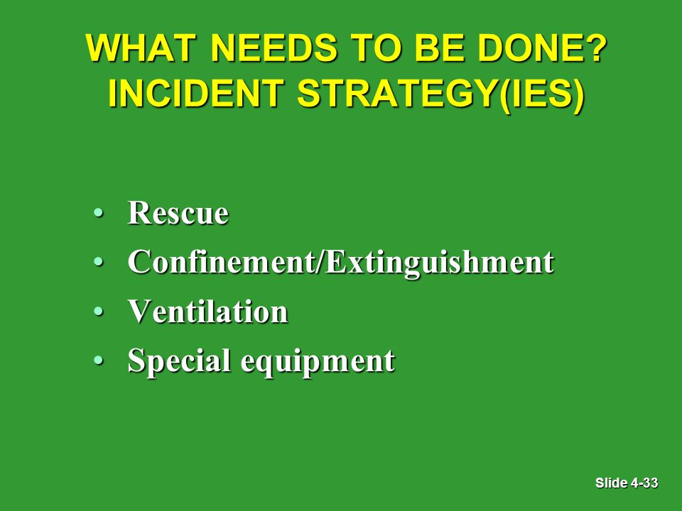 Slide 4-33 WHAT NEEDS TO BE DONE.