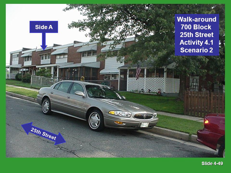 Slide 4-49 Side A 25th Street Walk-around 700 Block 25th Street Activity 4.1 Scenario 2