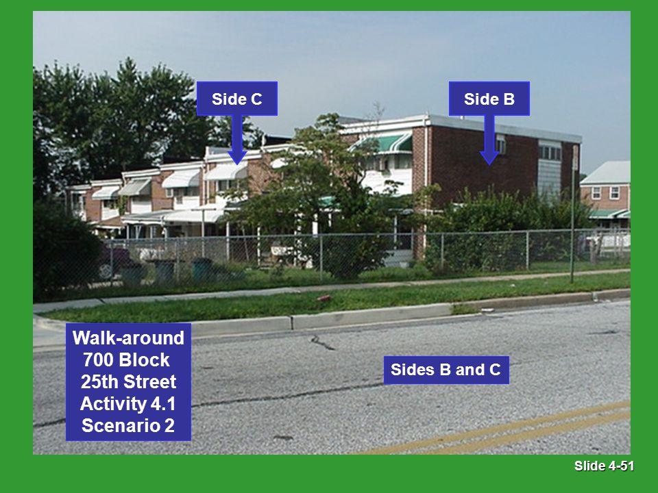 Slide 4-51 Sides B and C Side BSide C Walk-around 700 Block 25th Street Activity 4.1 Scenario 2