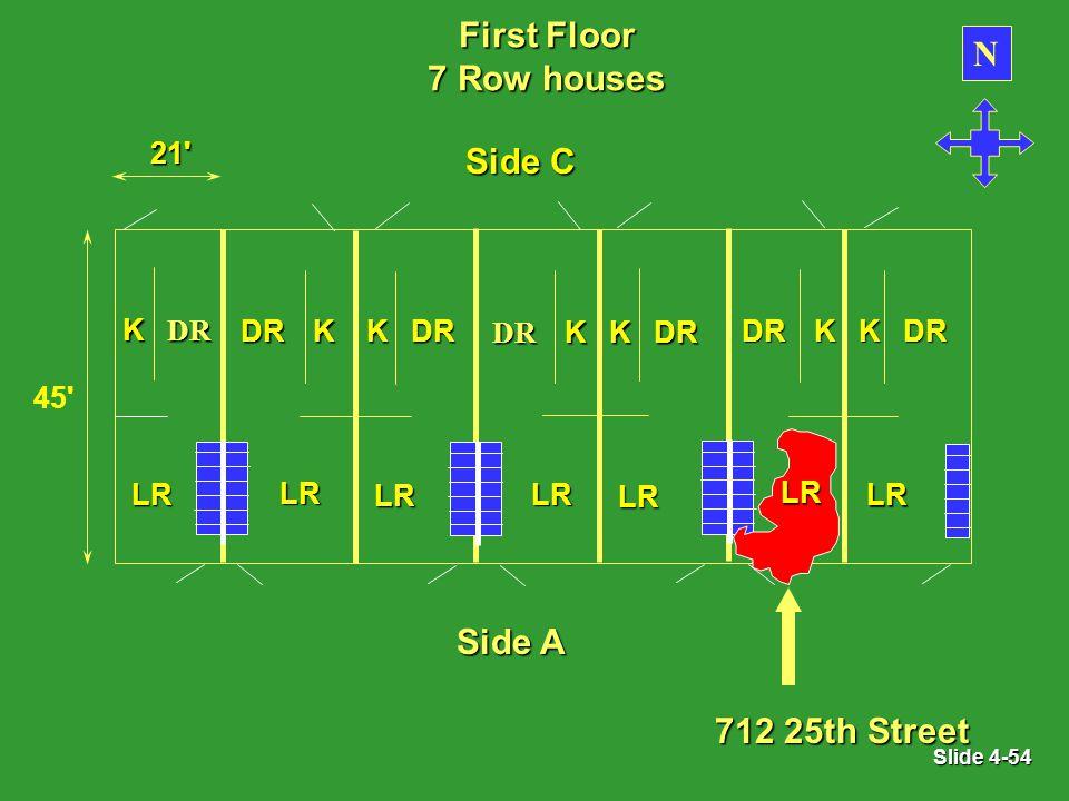 Slide 4-54 First Floor 7 Row houses N LR KDR LR KDR 21 45 LR KDR LR KDR LR KDR LR KDR LR KDR Side A 712 25th Street Side C