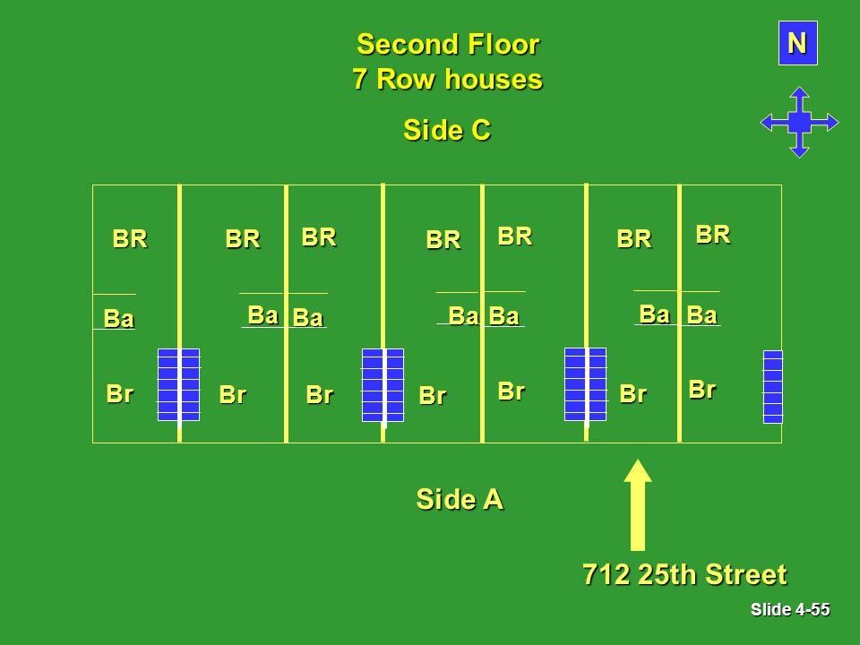 Slide 4-55 Second Floor 7 Row houses BR Br Ba BR Br Ba N BR Br Ba BR Br Ba BR Br Ba BR Br Ba BR Br Ba Side A 712 25th Street Side C