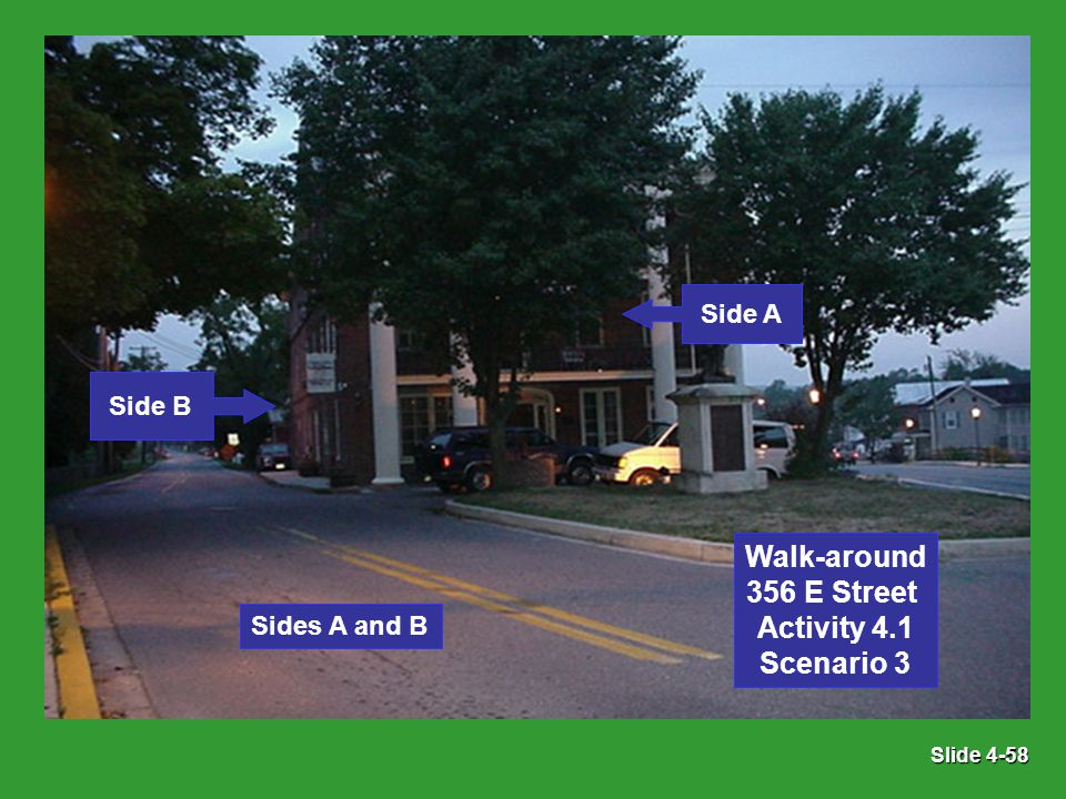 Slide 4-58 Sides A and B Side B Side A Walk-around 356 E Street Activity 4.1 Scenario 3