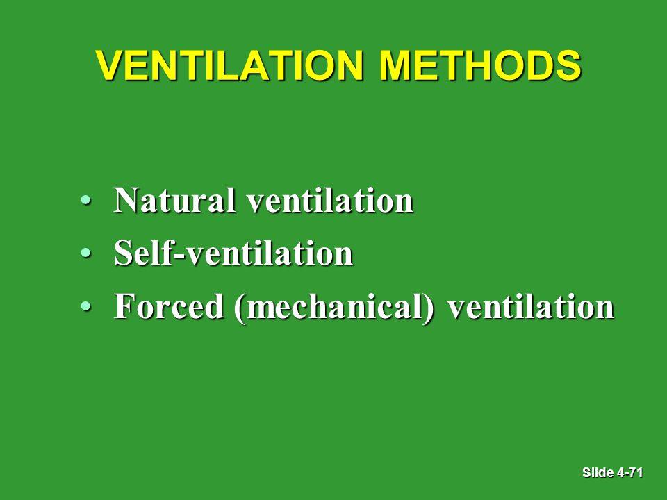 Slide 4-71 VENTILATION METHODS Natural ventilationNatural ventilation Self-ventilationSelf-ventilation Forced (mechanical) ventilationForced (mechanical) ventilation