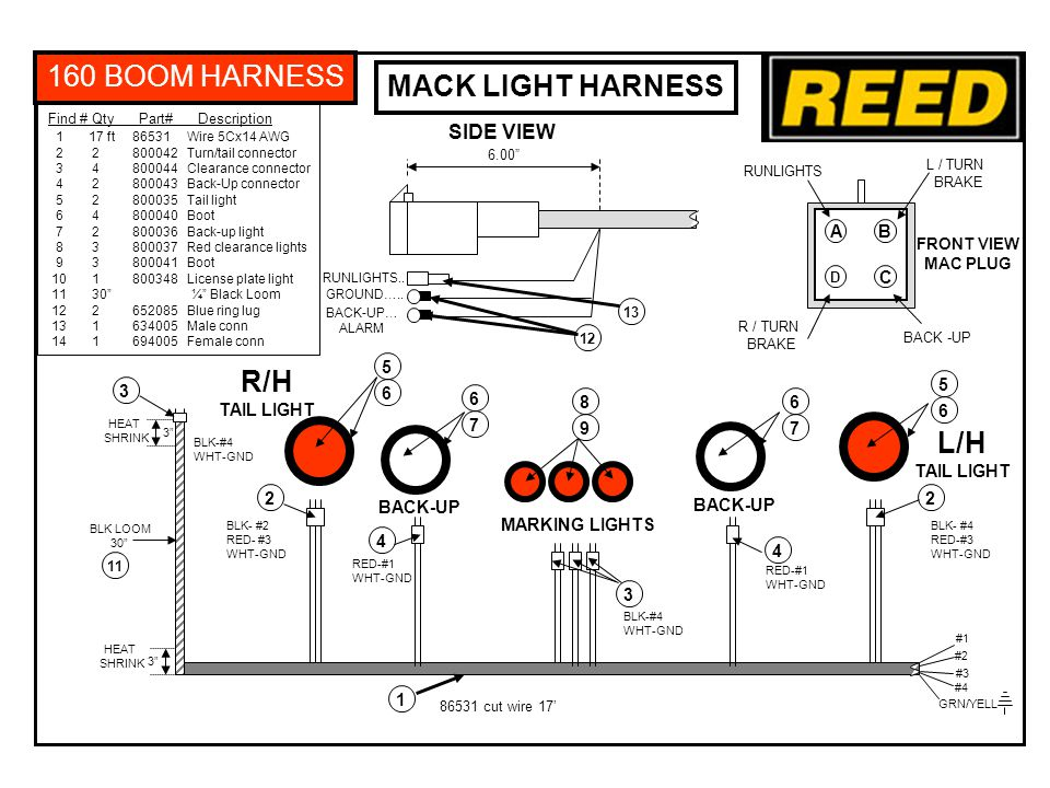 NOTE: Install Reed marker light harness and 12V battery harness in MAC frame rail using tie wraps.
