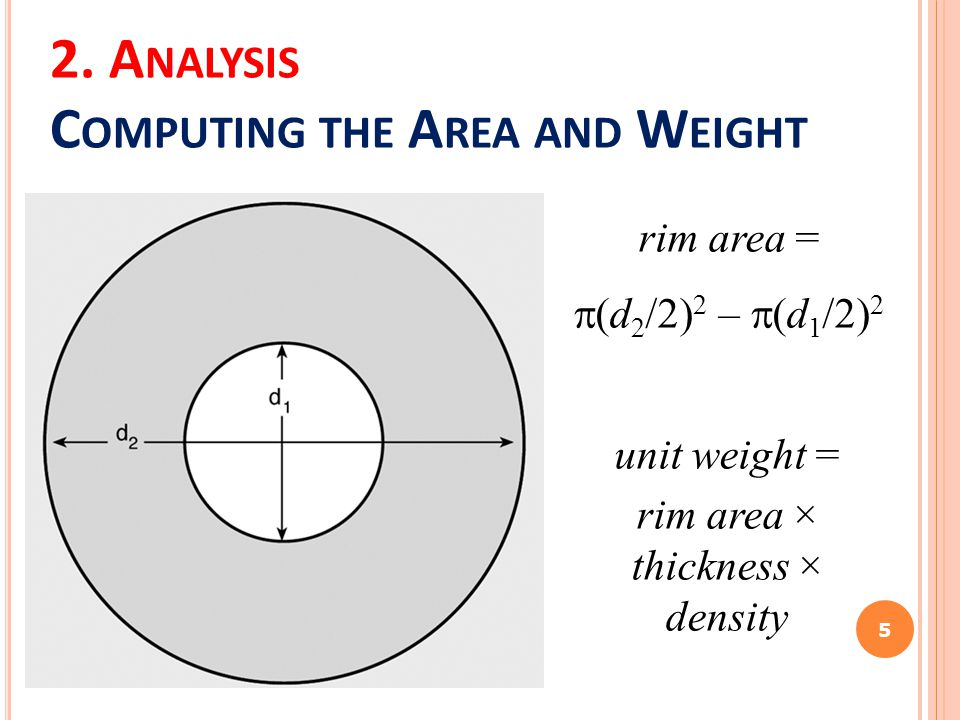2. A NALYSIS C OMPUTING THE A REA AND W EIGHT 5 rim area =  (d 2 /2) 2 –  (d 1 /2) 2 unit weight = rim area × thickness × density