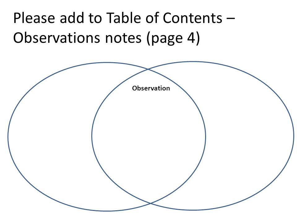 Please add to Table of Contents – Observations notes (page 4) Observation