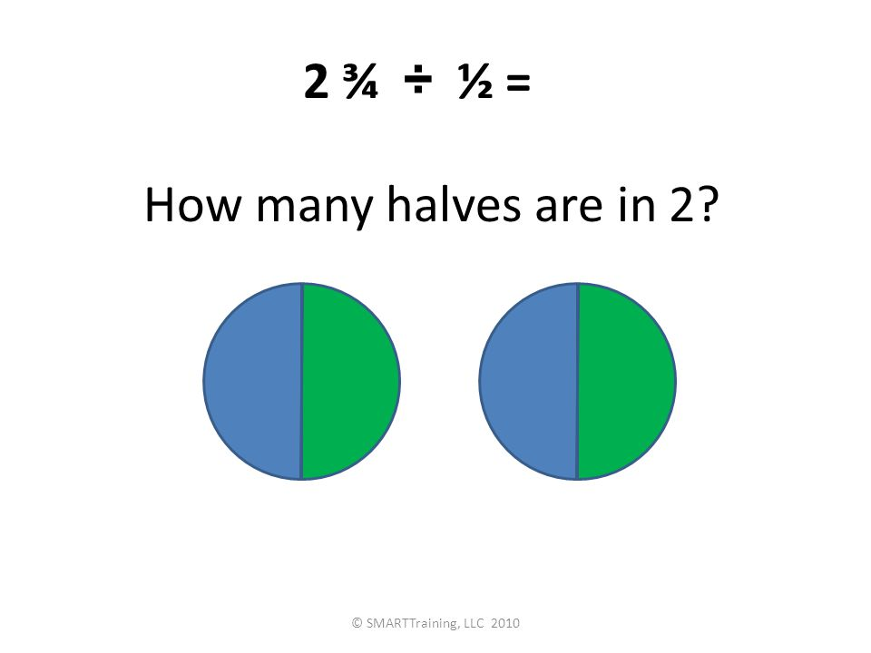 How many halves are in 2 2 ¾ ÷ ½ = © SMARTTraining, LLC 2010