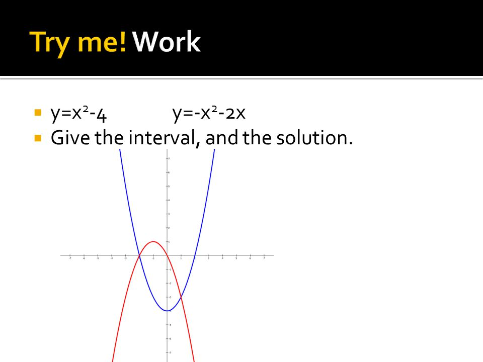  y=x 2 -4y=-x 2 -2x  Give the interval, and the solution.