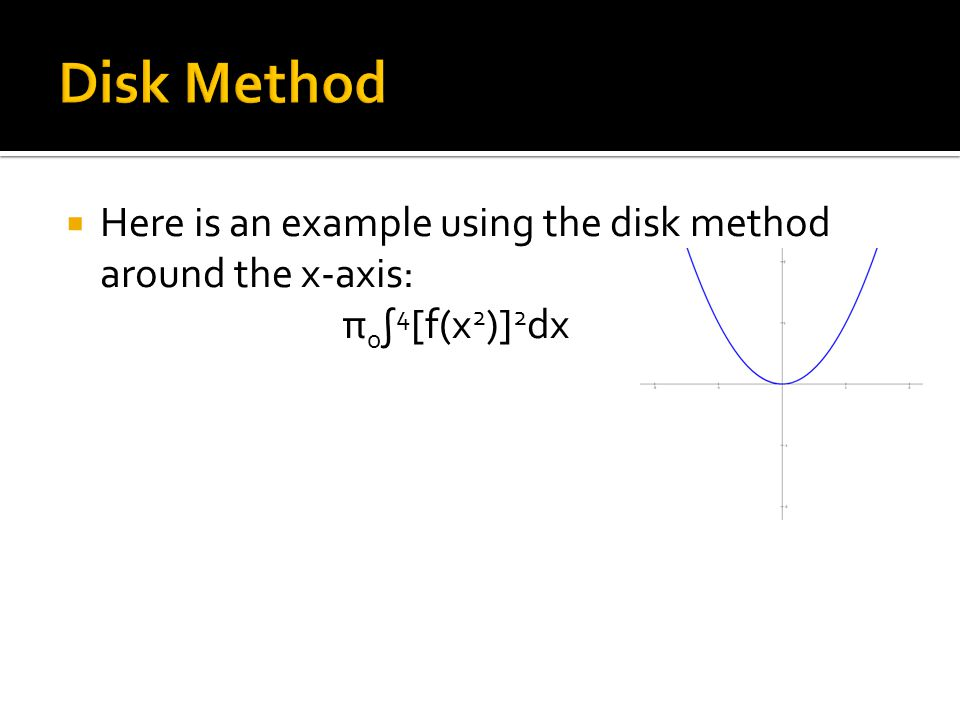  Here is an example using the disk method around the x-axis: π 0 ∫ 4 [f(x 2 )] 2 dx