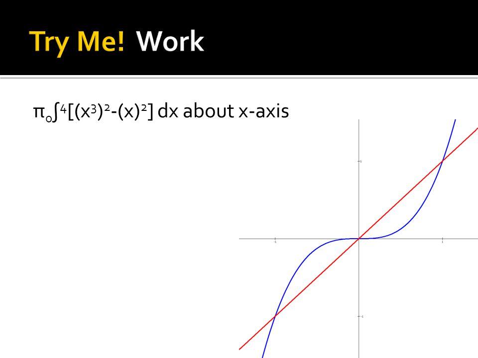 π 0 ∫ 4 [(x 3 ) 2 -(x) 2 ] dx about x-axis