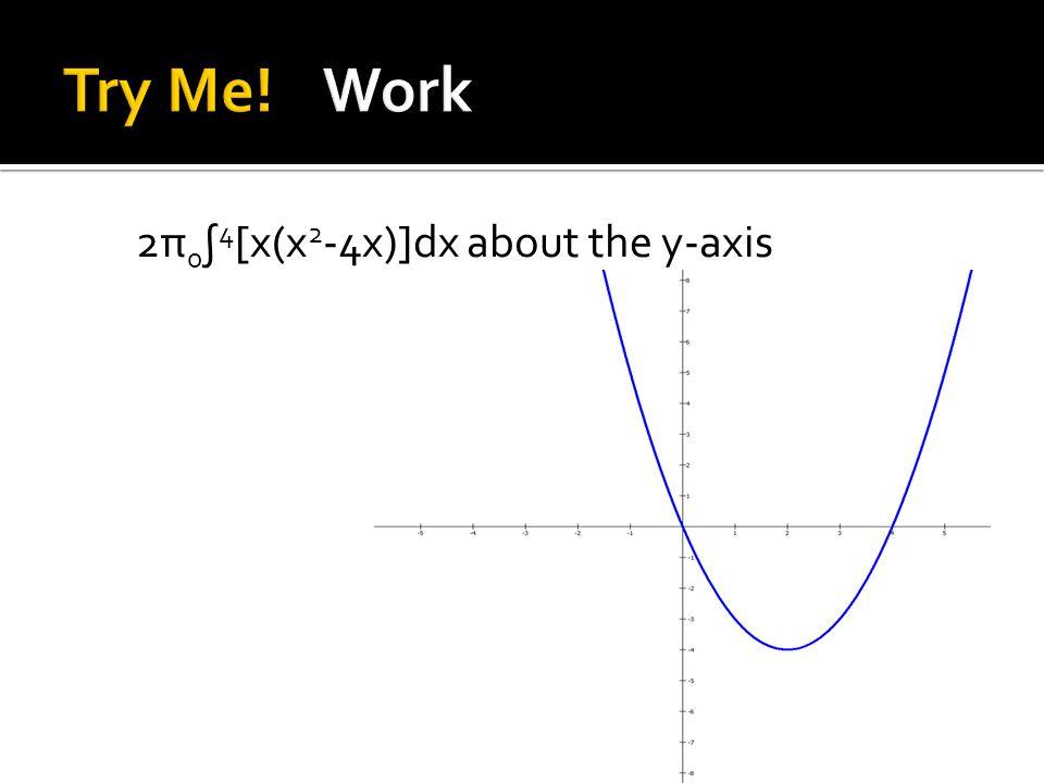 2π 0 ∫ 4 [x(x 2 -4x)]dx about the y-axis