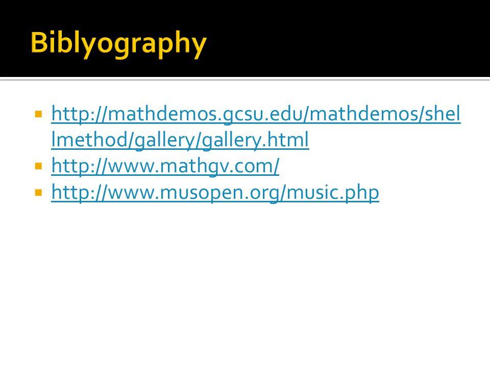  http://mathdemos.gcsu.edu/mathdemos/shel lmethod/gallery/gallery.html http://mathdemos.gcsu.edu/mathdemos/shel lmethod/gallery/gallery.html  http://www.mathgv.com/ http://www.mathgv.com/  http://www.musopen.org/music.php http://www.musopen.org/music.php