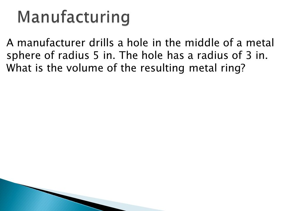 A manufacturer drills a hole in the middle of a metal sphere of radius 5 in.