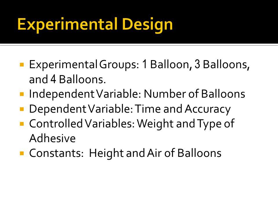  Experimental Groups: 1 Balloon, 3 Balloons, and 4 Balloons.