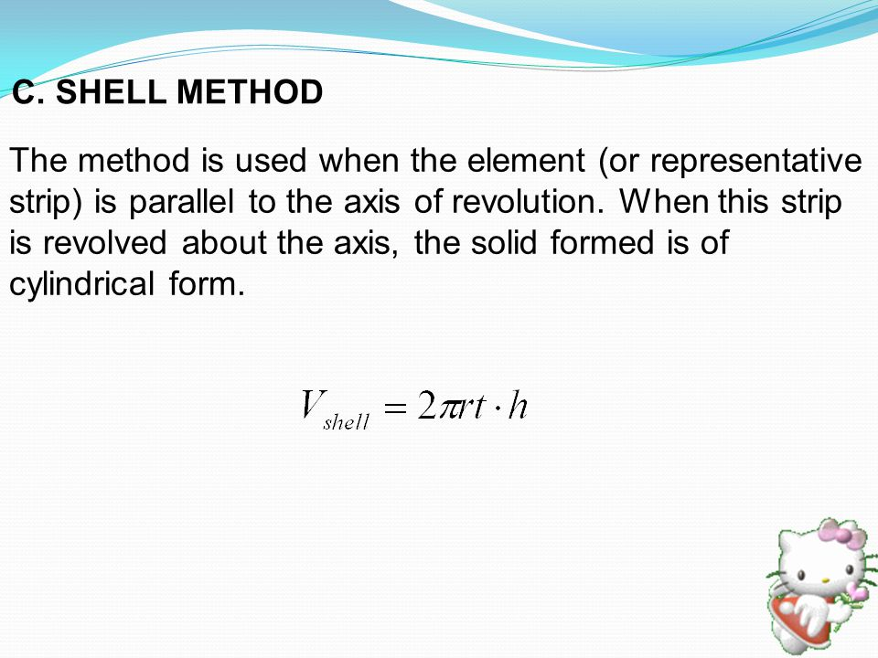The method is used when the element (or representative strip) is parallel to the axis of revolution.