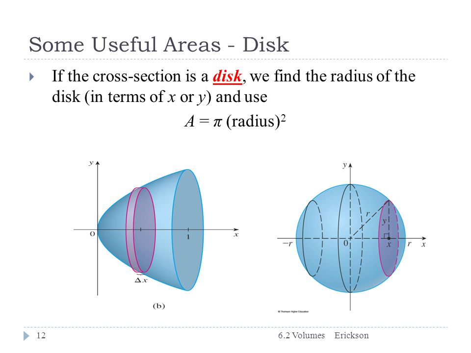 Some Useful Areas - Disk 6.2 Volumes12  If the cross-section is a disk, we find the radius of the disk (in terms of x or y) and use A = π (radius) 2