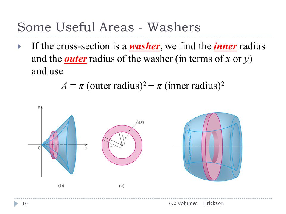 Some Useful Areas - Washers Erickson6.2 Volumes16  If the cross-section is a washer, we find the inner radius and the outer radius of the washer (in