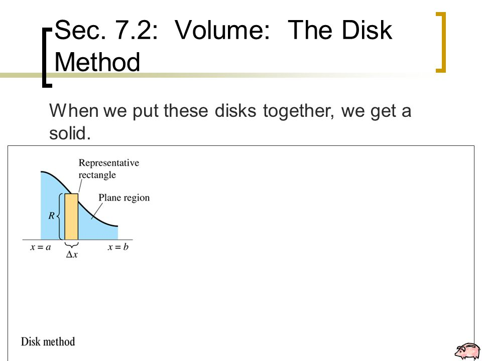 Sec. 7.2: Volume: The Disk Method When we put these disks together, we get a solid.