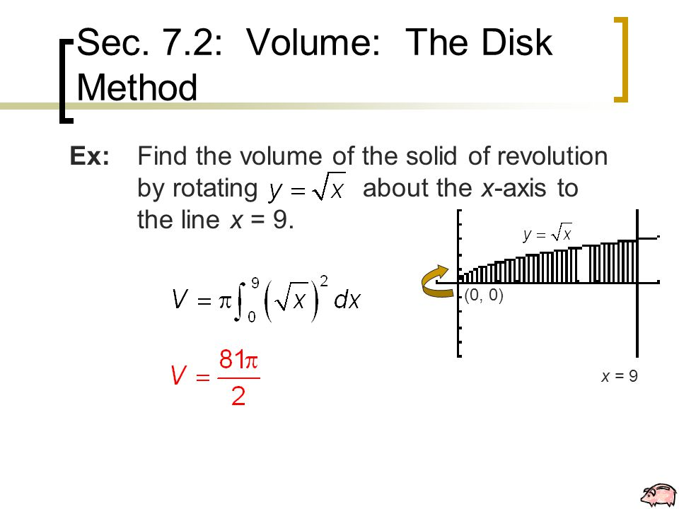 Ex:Find the volume of the solid of revolution by rotating about the x-axis to the line x = 9.