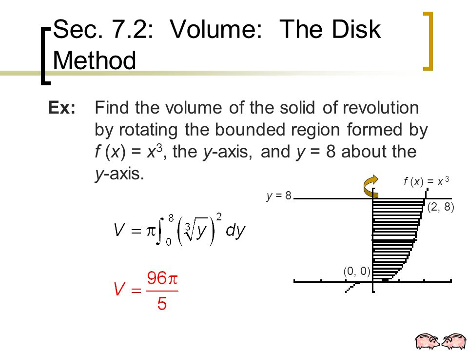 Ex:Find the volume of the solid of revolution by rotating the bounded region formed by f (x) = x 3, the y-axis, and y = 8 about the y-axis.