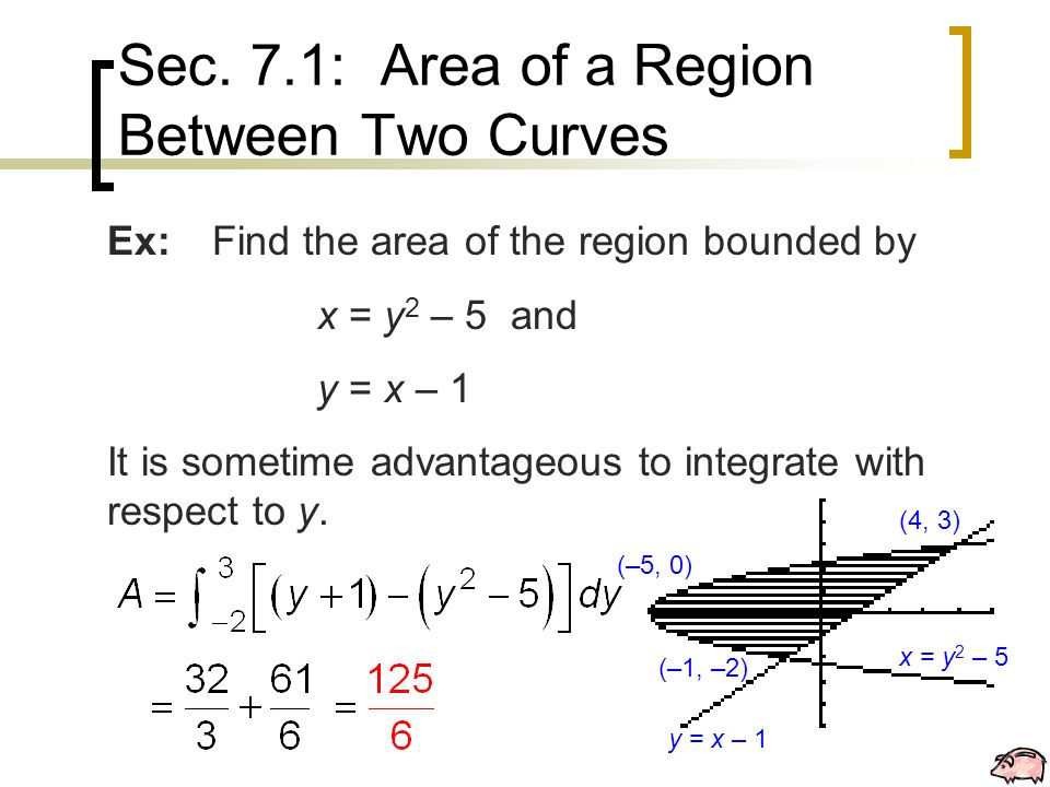 Sec. 7.1: Area of a Region Between Two Curves Ex:Find the area of the region bounded by x = y 2 – 5 and y = x – 1 It is sometime advantageous to integ