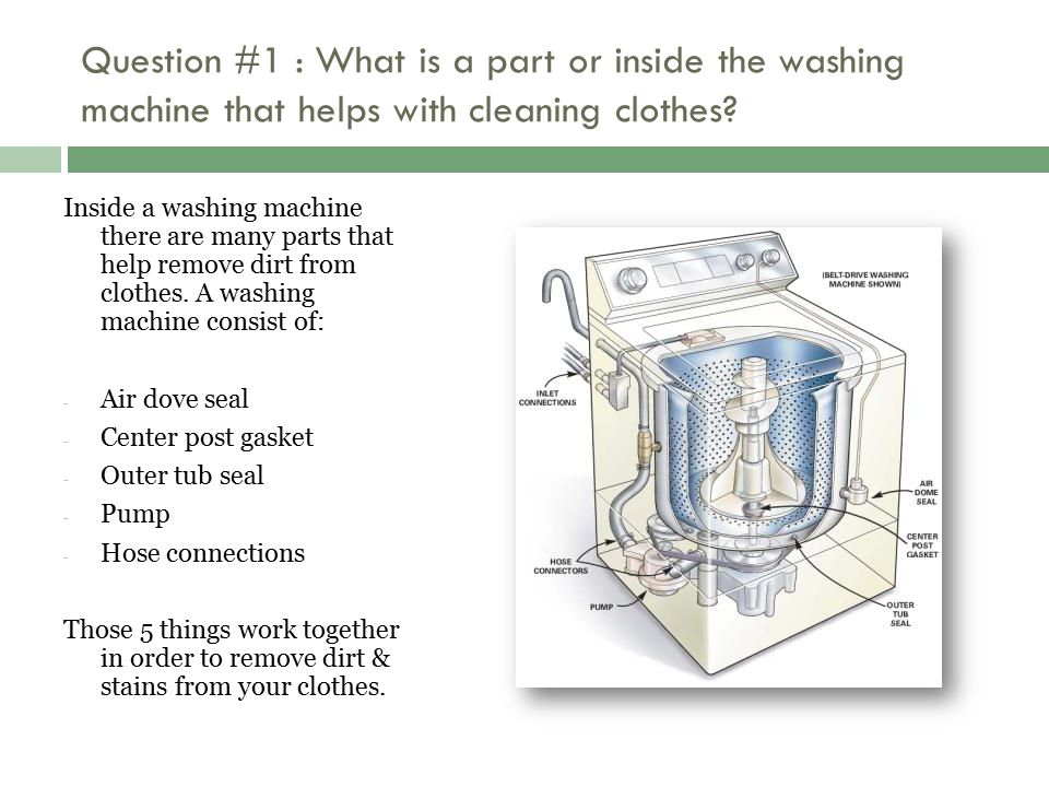 Question #1 : What is a part or inside the washing machine that helps with cleaning clothes? Inside a washing machine there are many parts that help r