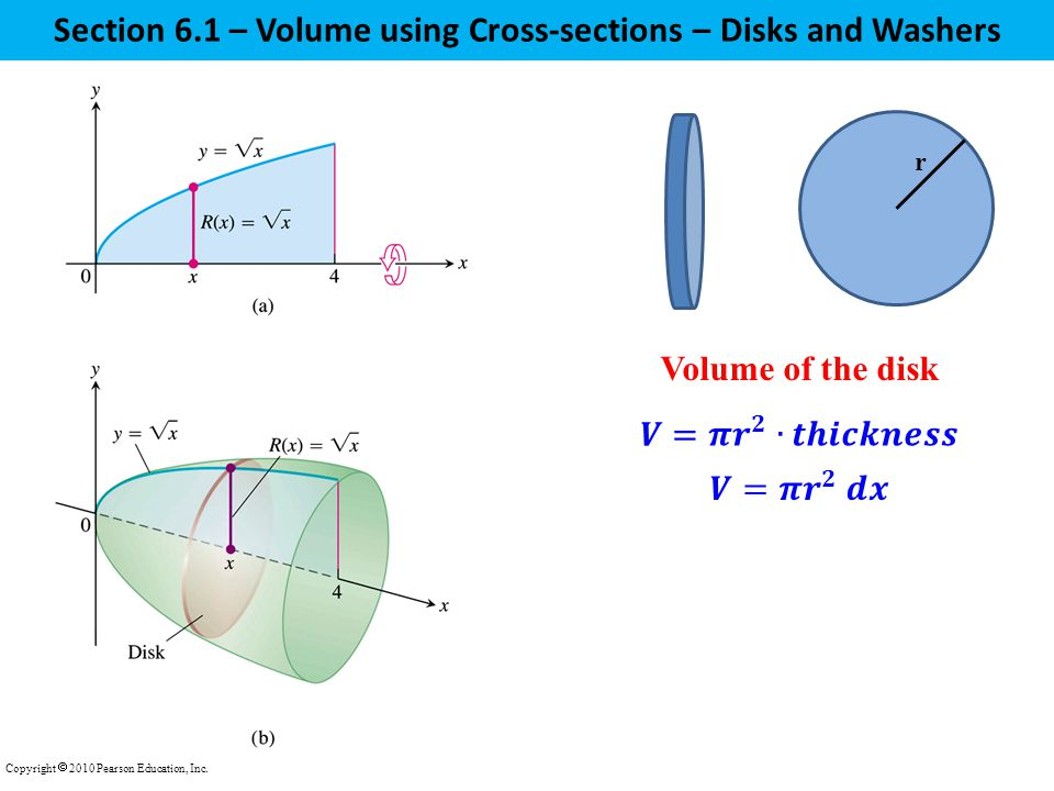 Section 6.1 – Volume using Cross-sections – Disks and Washers Copyright  2010 Pearson Education, Inc.