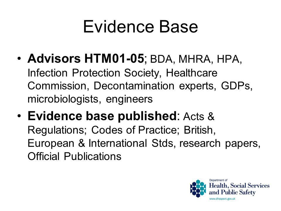 Evidence Base Advisors HTM01-05; BDA, MHRA, HPA, Infection Protection Society, Healthcare Commission, Decontamination experts, GDPs, microbiologists, engineers Evidence base published: Acts & Regulations; Codes of Practice; British, European & International Stds, research papers, Official Publications