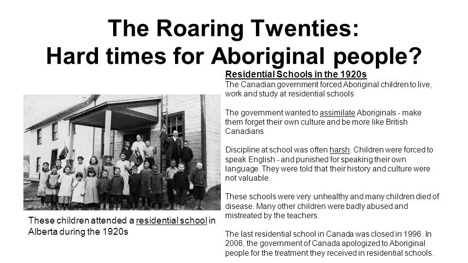 The Roaring Twenties: Hard times for Aboriginal people.