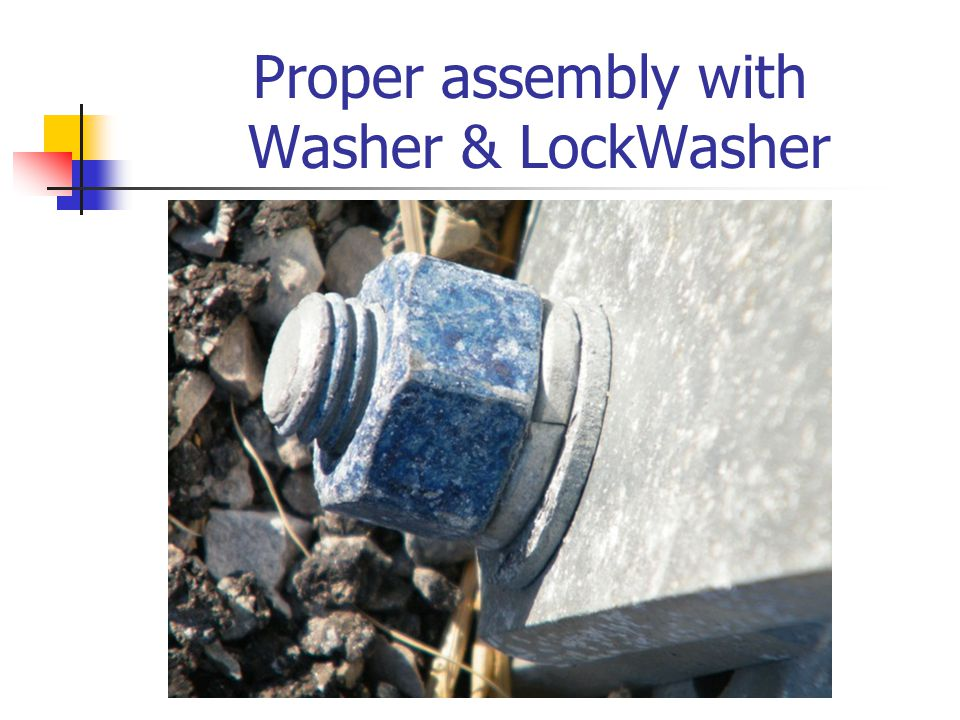 Proper assembly with Washer & LockWasher