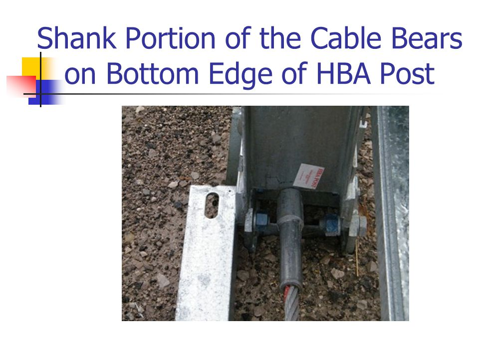 Shank Portion of the Cable Bears on Bottom Edge of HBA Post