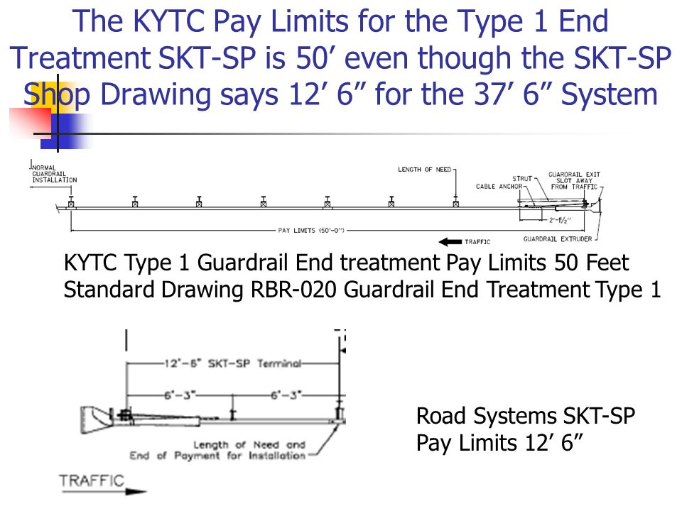The KYTC Pay Limits for the Type 1 End Treatment SKT-SP is 50' even though the SKT-SP Shop Drawing says 12' 6 for the 37' 6 System KYTC Type 1 Guardrail End treatment Pay Limits 50 Feet Standard Drawing RBR-020 Guardrail End Treatment Type 1 Road Systems SKT-SP Pay Limits 12' 6