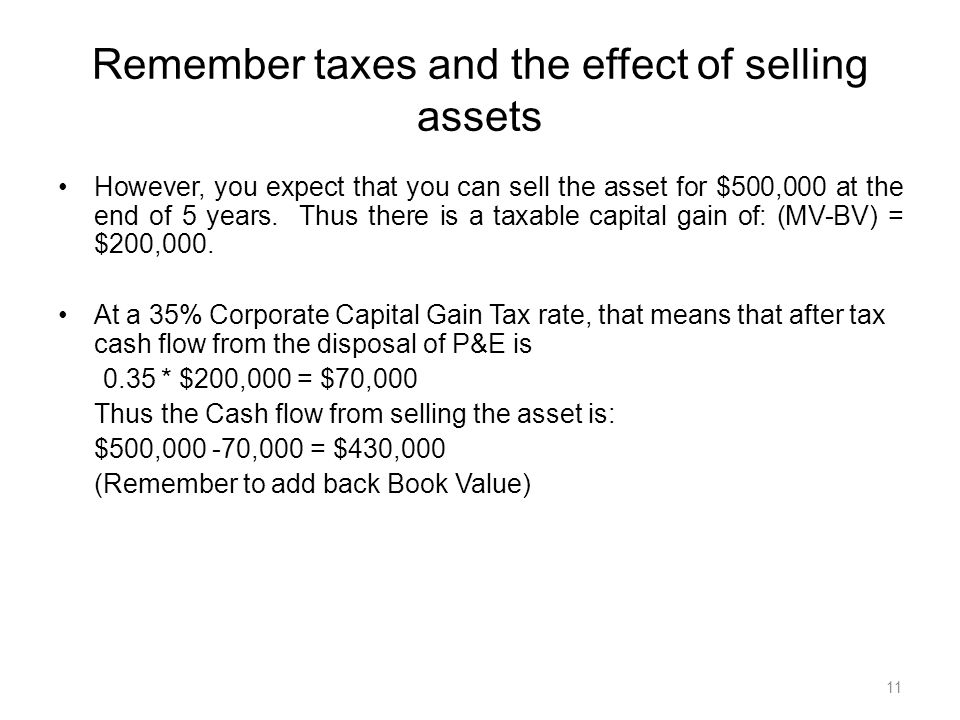 11 However, you expect that you can sell the asset for $500,000 at the end of 5 years.