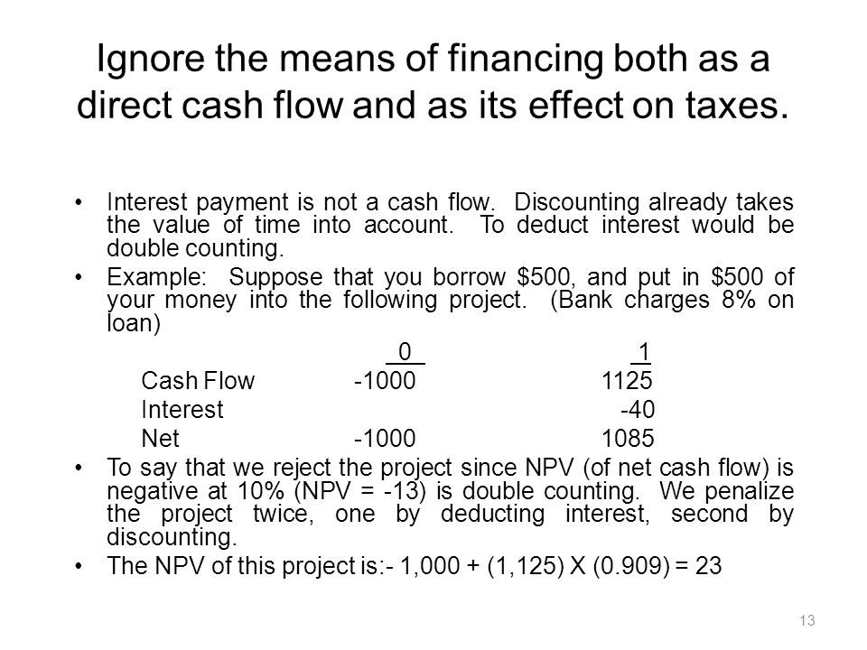 13 Ignore the means of financing both as a direct cash flow and as its effect on taxes.