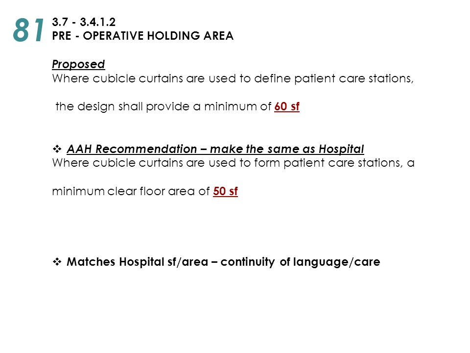 3.7 - 3.4.1.2 PRE - OPERATIVE HOLDING AREA Proposed Where cubicle curtains are used to define patient care stations, the design shall provide a minimu