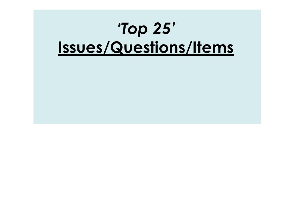 'Top 25' Issues/Questions/Items