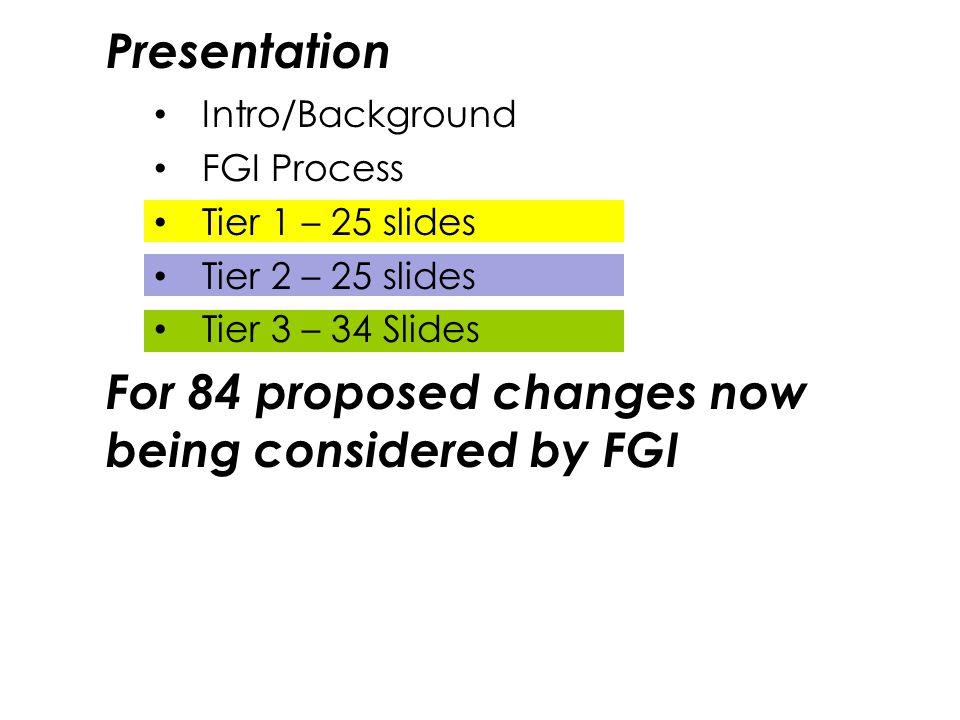 Intro/Background FGI Process Tier 1 – 25 slides Tier 2 – 25 slides Tier 3 – 34 Slides For 84 proposed changes now being considered by FGI Presentation