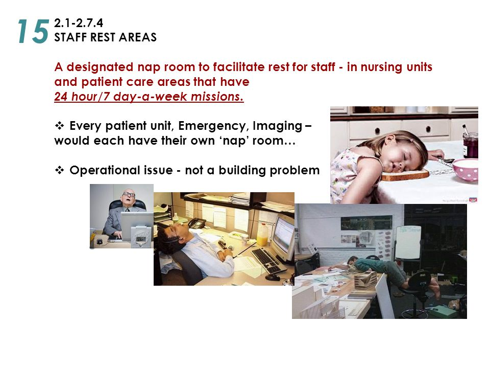 2.1-2.7.4 STAFF REST AREAS A designated nap room to facilitate rest for staff - in nursing units and patient care areas that have 24 hour/7 day-a-week