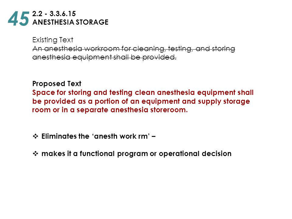 2.2 - 3.3.6.15 ANESTHESIA STORAGE Existing Text An anesthesia workroom for cleaning, testing, and storing anesthesia equipment shall be provided. Prop