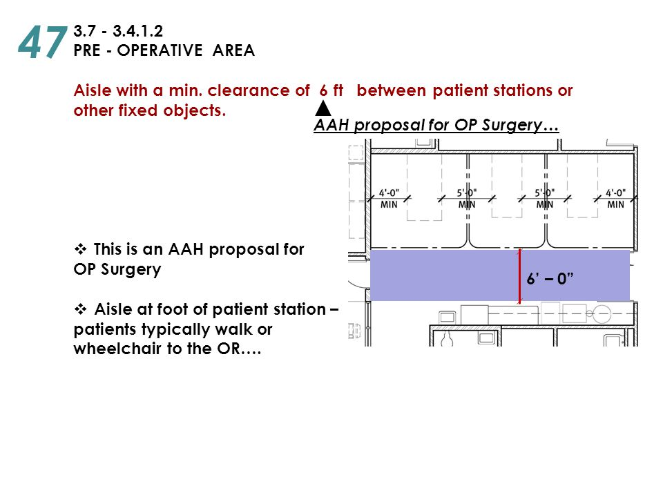 3.7 - 3.4.1.2 PRE - OPERATIVE AREA Aisle with a min. clearance of 6 ft between patient stations or other fixed objects.  This is an AAH proposal for