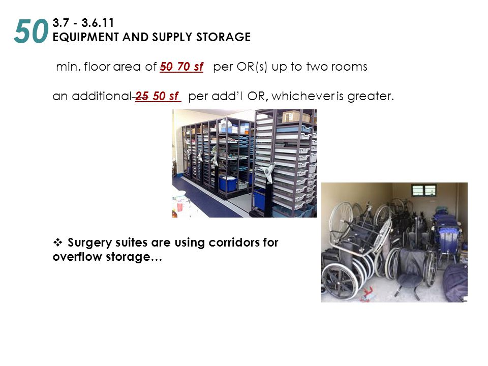 3.7 - 3.6.11 EQUIPMENT AND SUPPLY STORAGE min. floor area of 50 70 sf per OR(s) up to two rooms an additional 25 50 sf per add'l OR, whichever is grea