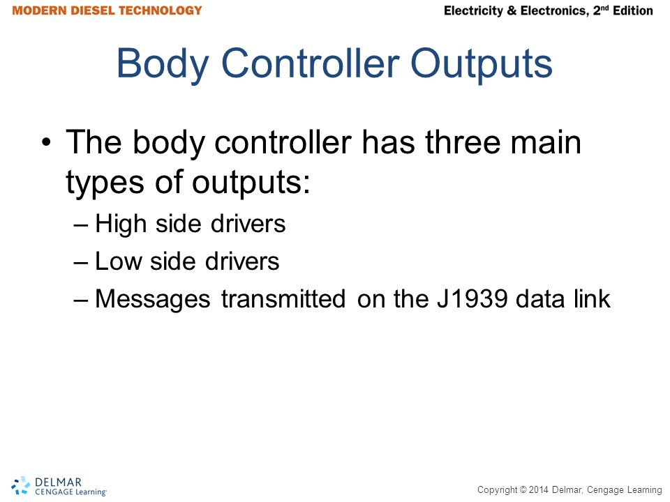 Copyright © 2014 Delmar, Cengage Learning Body Controller Outputs The body controller has three main types of outputs: –High side drivers –Low side dr